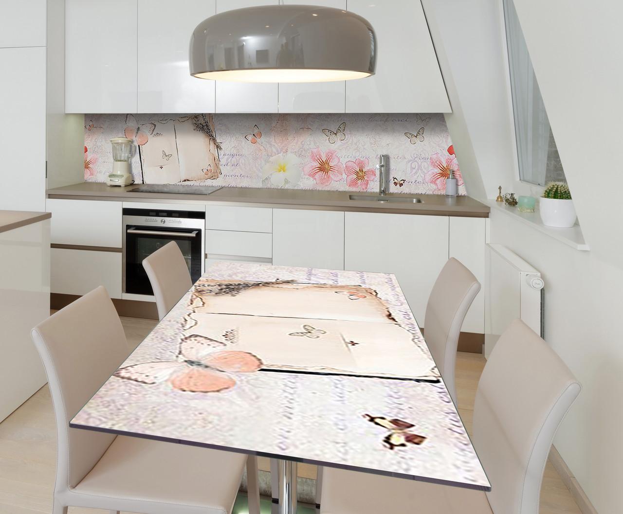 Наклейка 3Д виниловая на стол Zatarga «Порхающие мысли» 650х1200 мм для домов, квартир, столов, кофейн, кафе