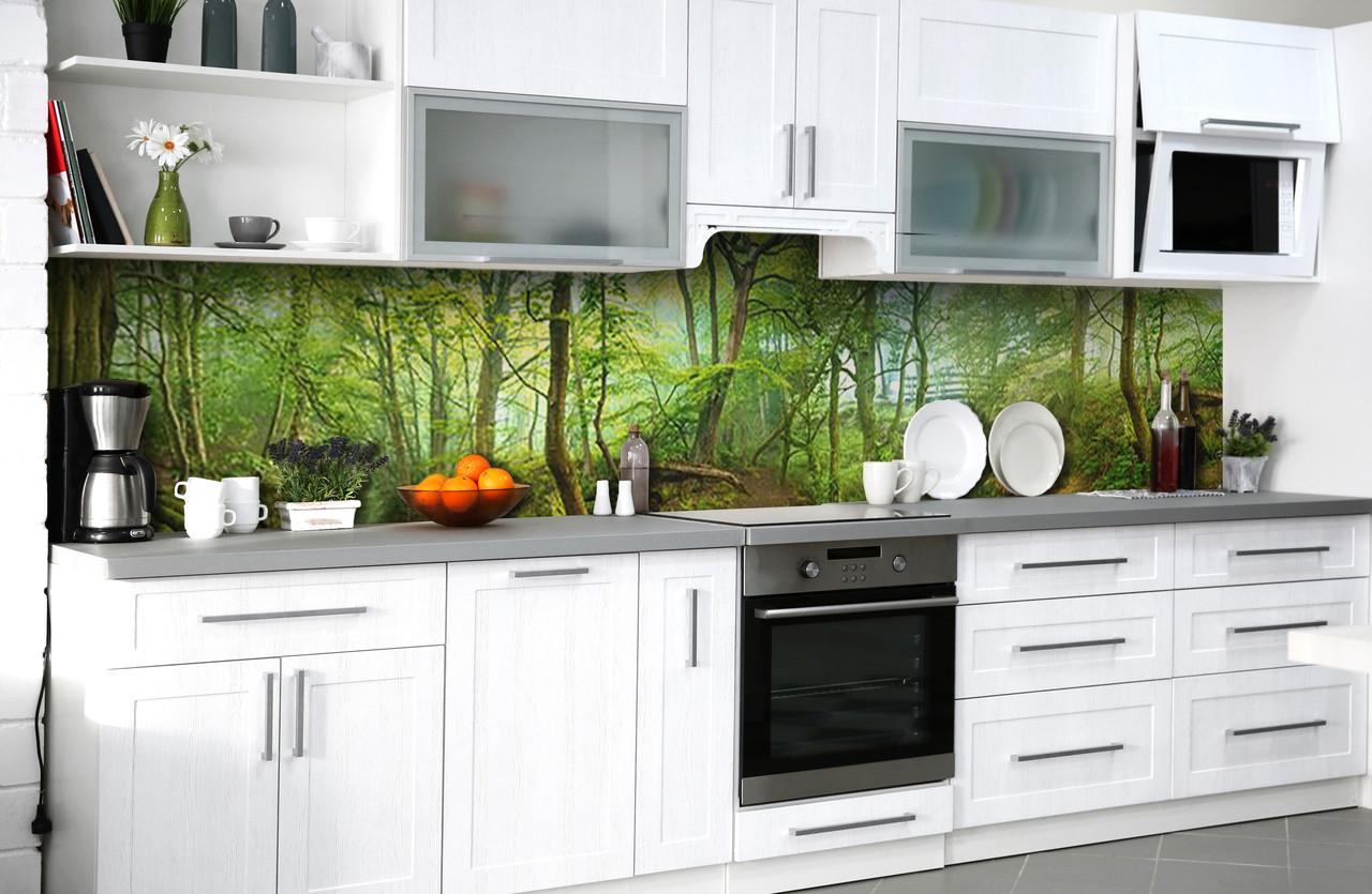 Скинали на кухню Zatarga «Таинсвенный лес» 600х3000 мм виниловая 3Д наклейка кухонный фартук самоклеящаяся