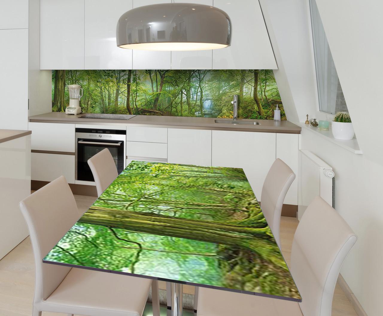 Наклейка 3Д виниловая на стол Zatarga «Таинсвенный лес» 650х1200 мм для домов, квартир, столов, кофейн, кафе