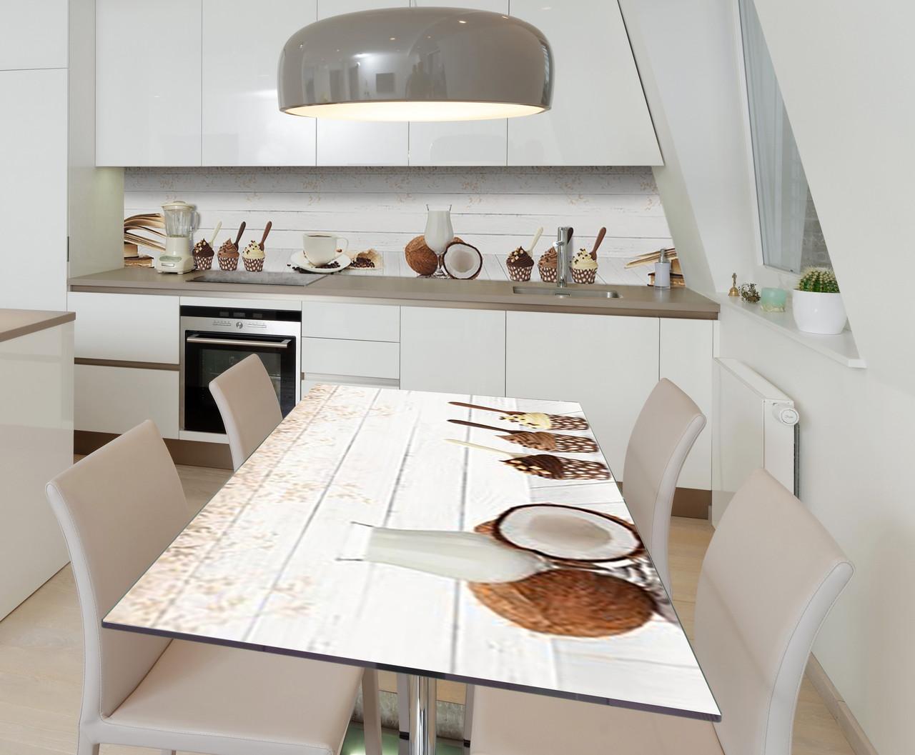 Наклейка 3Д виниловая на стол Zatarga «Кокосовое утро» 600х1200 мм для домов, квартир, столов, кофейн, кафе
