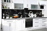 Скинали на кухню Zatarga «Тёмная роскошь» 600х3000 мм виниловая 3Д наклейка кухонный фартук самоклеящаяся, фото 1