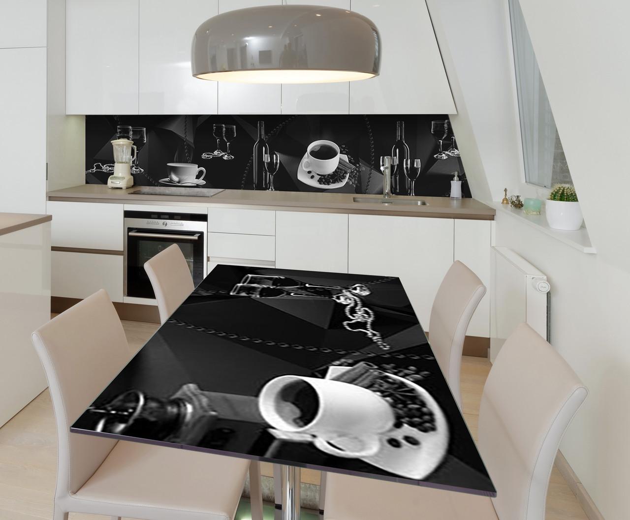 Наклейка 3Д виниловая на стол Zatarga «Тёмная роскошь» 650х1200 мм для домов, квартир, столов, кофейн, кафе