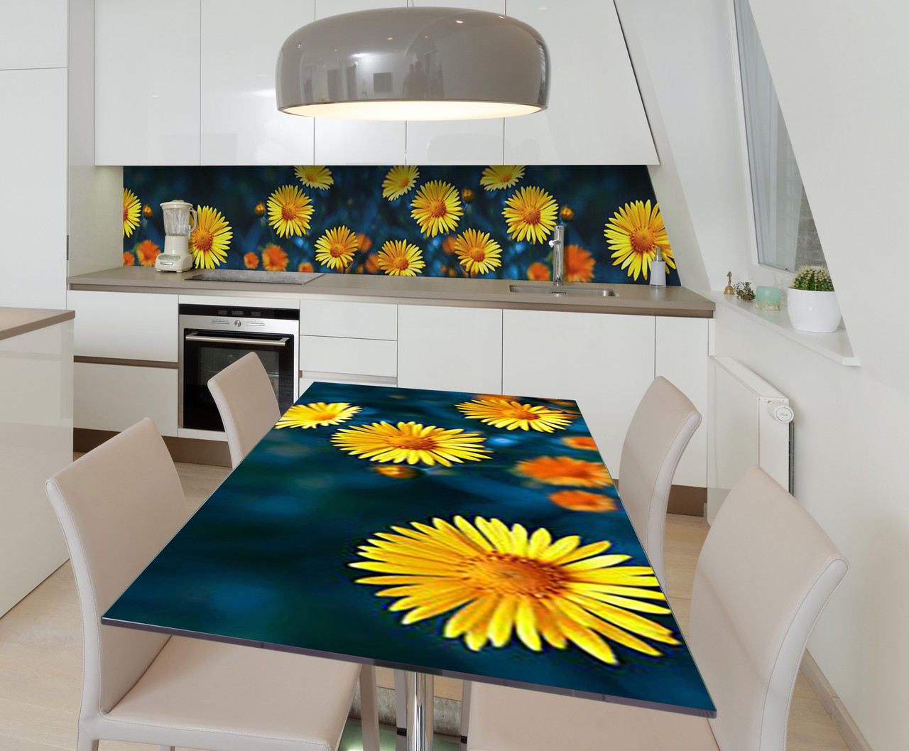 Наклейка 3Д виниловая на стол Zatarga «Солнечная улыбка» 650х1200 мм для домов, квартир, столов, кофейн, кафе