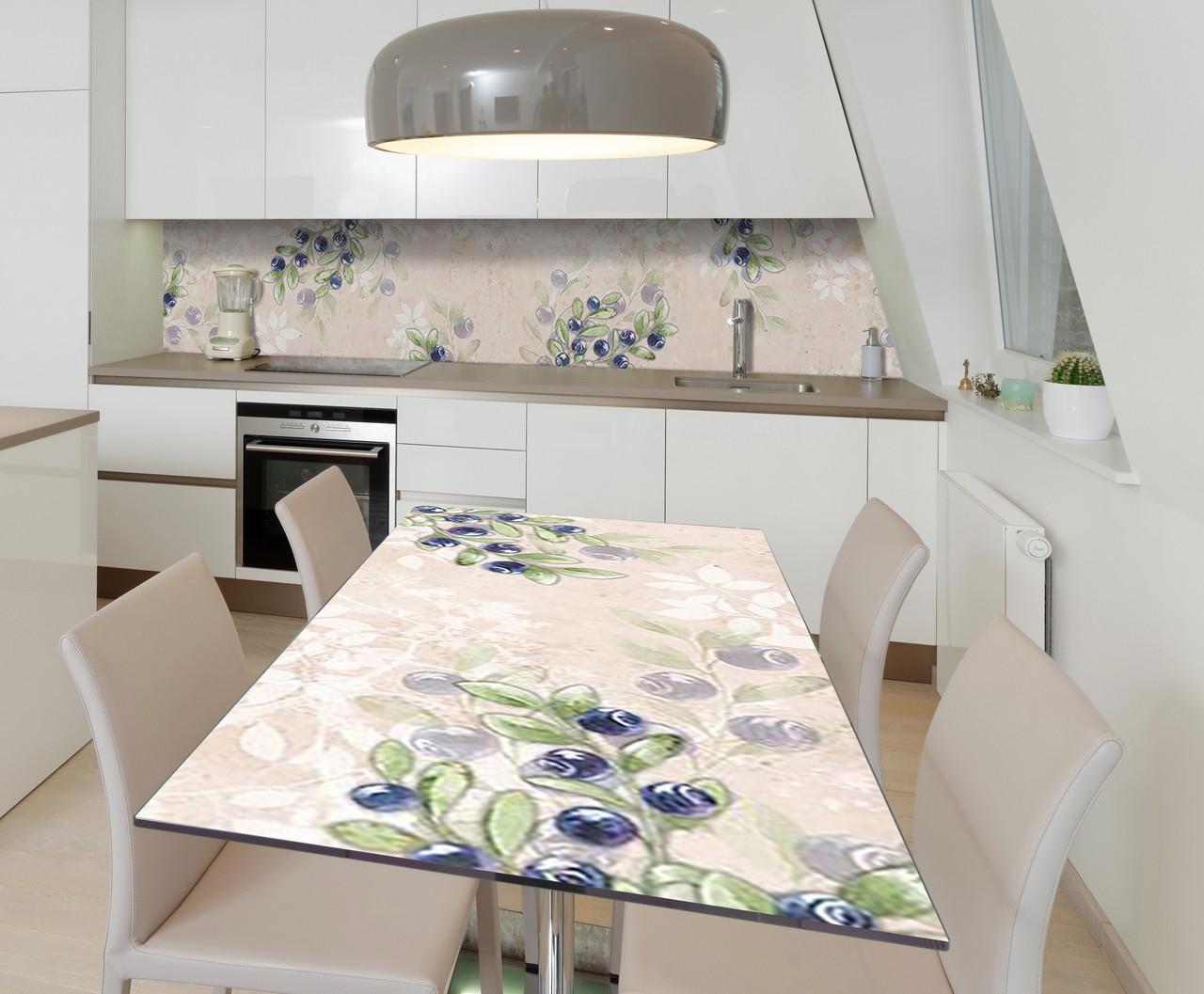 Наклейка 3Д виниловая на стол Zatarga «Черничная акварель» 600х1200 мм для домов, квартир, столов, кофейн,