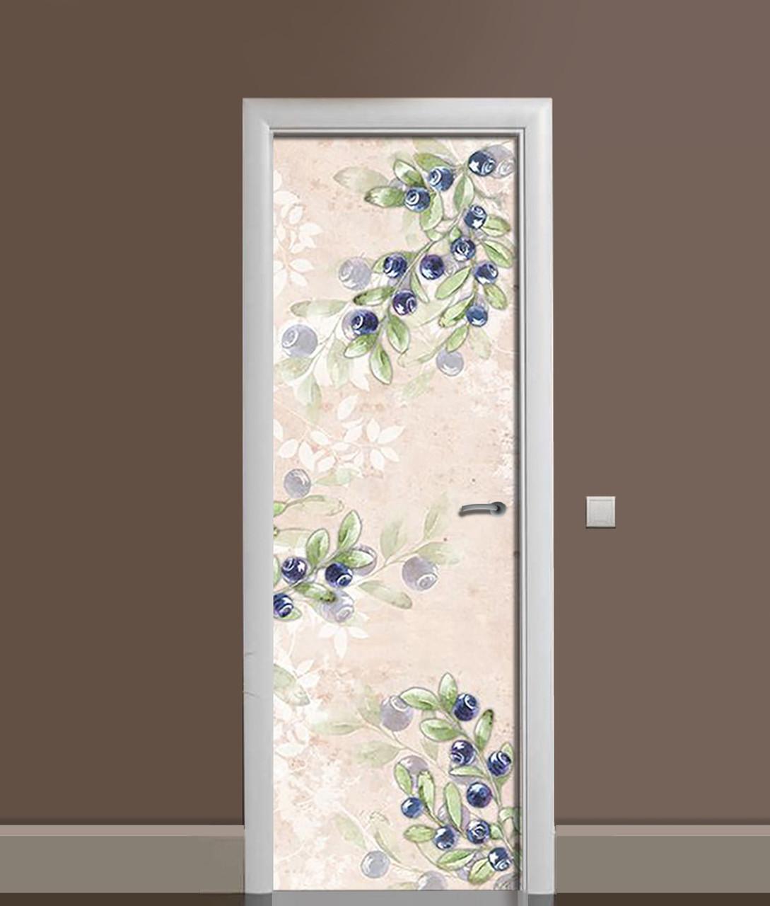 Наклейка на дверь Zatarga «Черничная акварель» 650х2000 мм виниловая 3Д наклейка декор самоклеящаяся