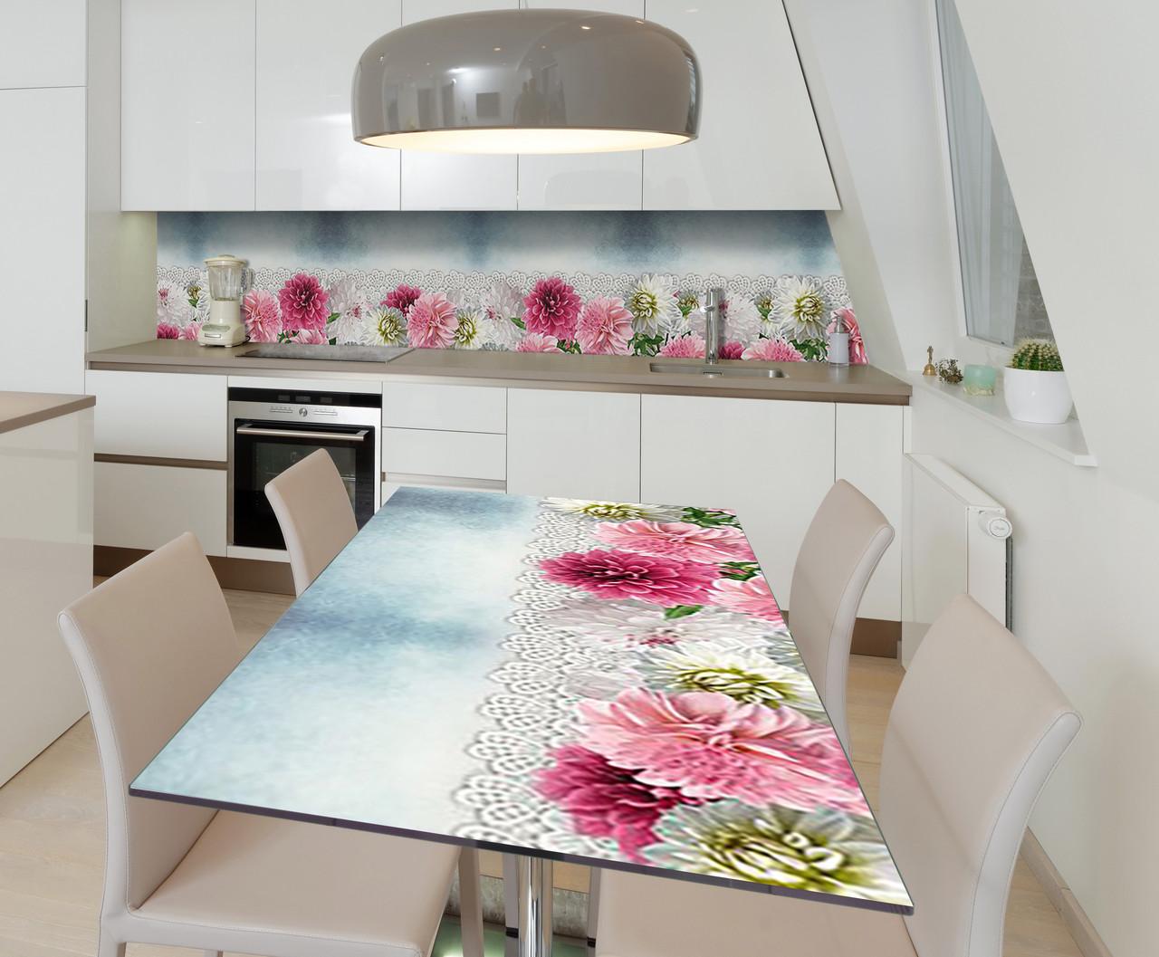 Наклейка 3Д виниловая на стол Zatarga «Кружево из хризантем» 650х1200 мм для домов, квартир, столов, кофейн,