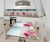 Наклейка 3Д виниловая на стол Zatarga «Кружево из хризантем» 650х1200 мм для домов, квартир, столов, кофейн,, фото 1