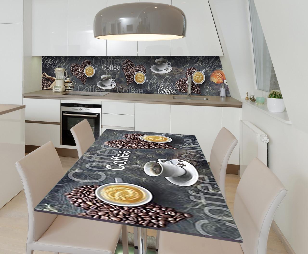 Наклейка 3Д виниловая на стол Zatarga «Кофеман» 650х1200 мм для домов, квартир, столов, кофейн, кафе