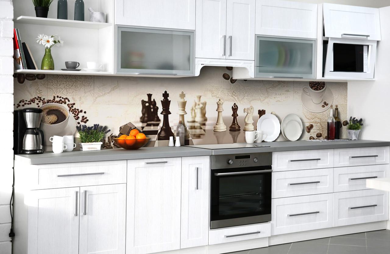 Скинали на кухню Zatarga «Утренняя партия» 650х2500 мм виниловая 3Д наклейка кухонный фартук самоклеящаяся