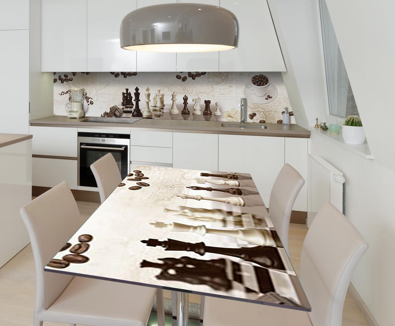 Наклейка 3Д виниловая на стол Zatarga «Утренняя партия» 600х1200 мм для домов, квартир, столов, кофейн, кафе