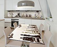 Наклейка 3Д виниловая на стол Zatarga «Утренняя партия» 600х1200 мм для домов, квартир, столов, кофейн, кафе, фото 1