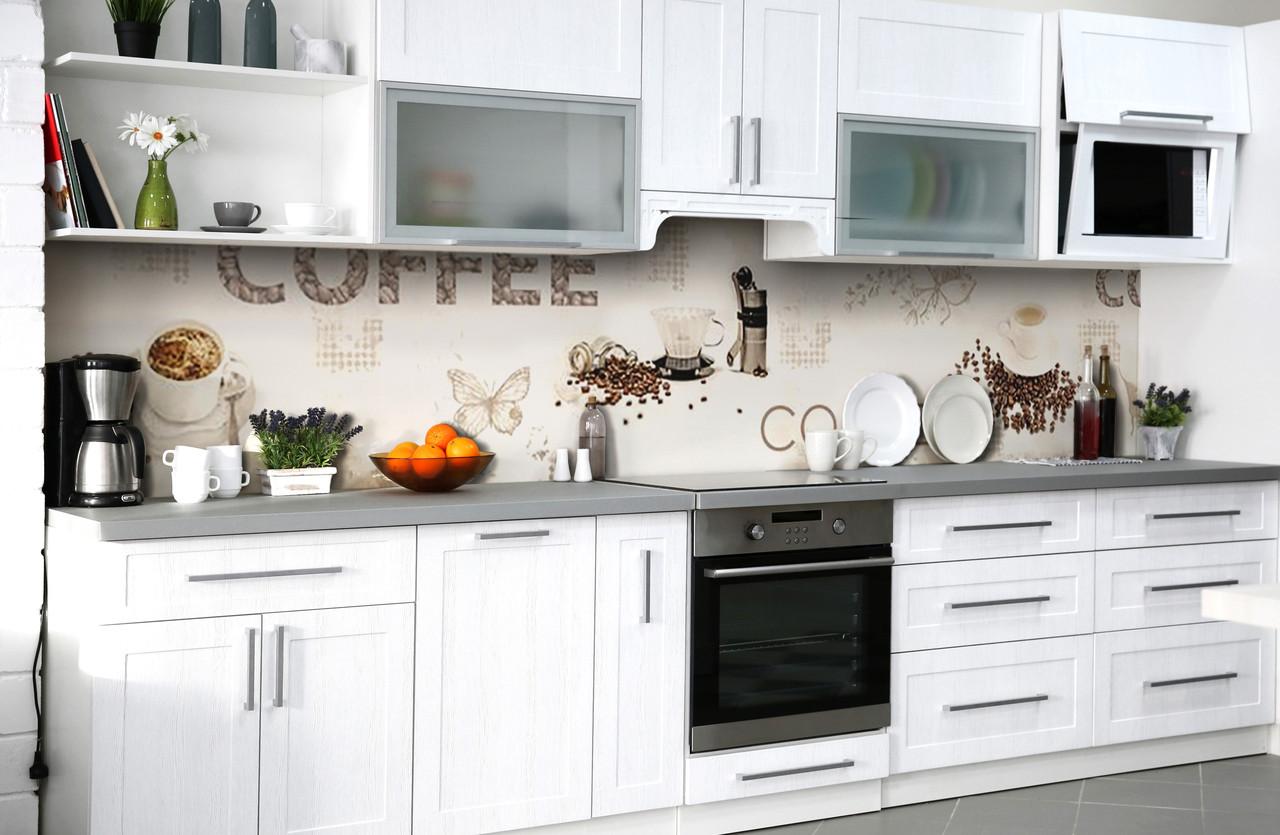 Скинали на кухню Zatarga «Кофейная радость» 600х2500 мм виниловая 3Д наклейка кухонный фартук самоклеящаяся