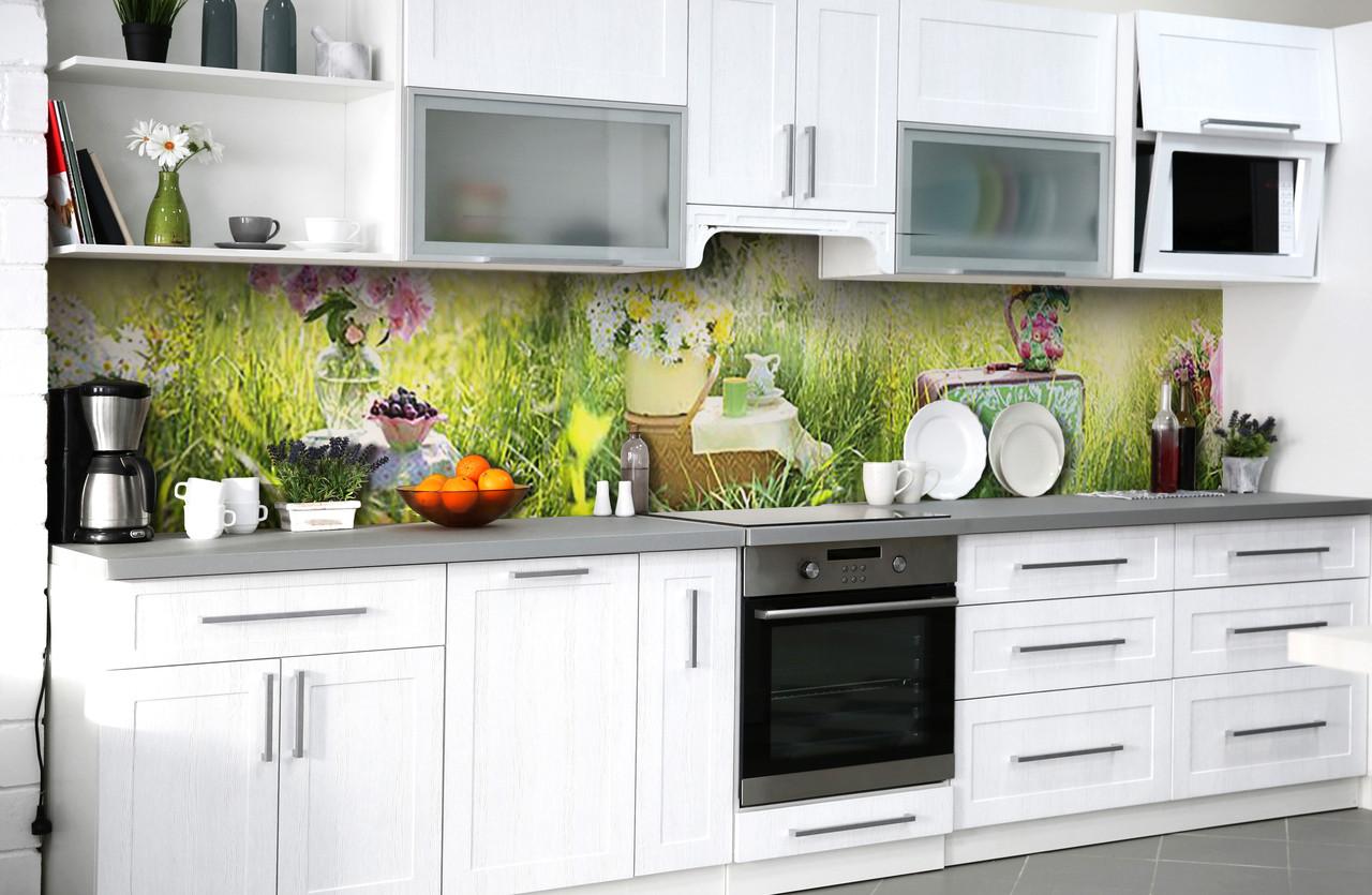 Скинали на кухню Zatarga «Летний пикник» 650х2500 мм виниловая 3Д наклейка кухонный фартук самоклеящаяся