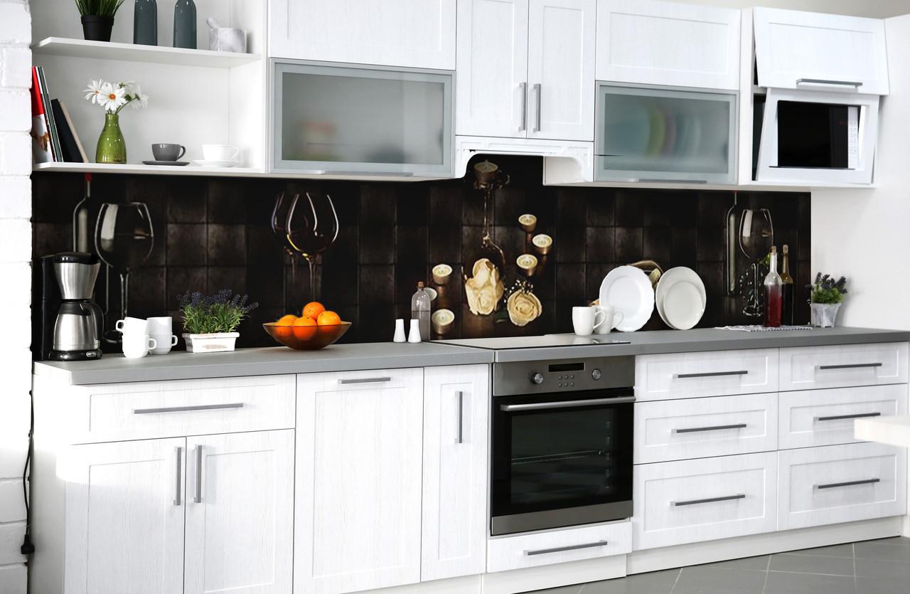 Скинали на кухню Zatarga «Вечер для двоих» 600х2500 мм виниловая 3Д наклейка кухонный фартук самоклеящаяся
