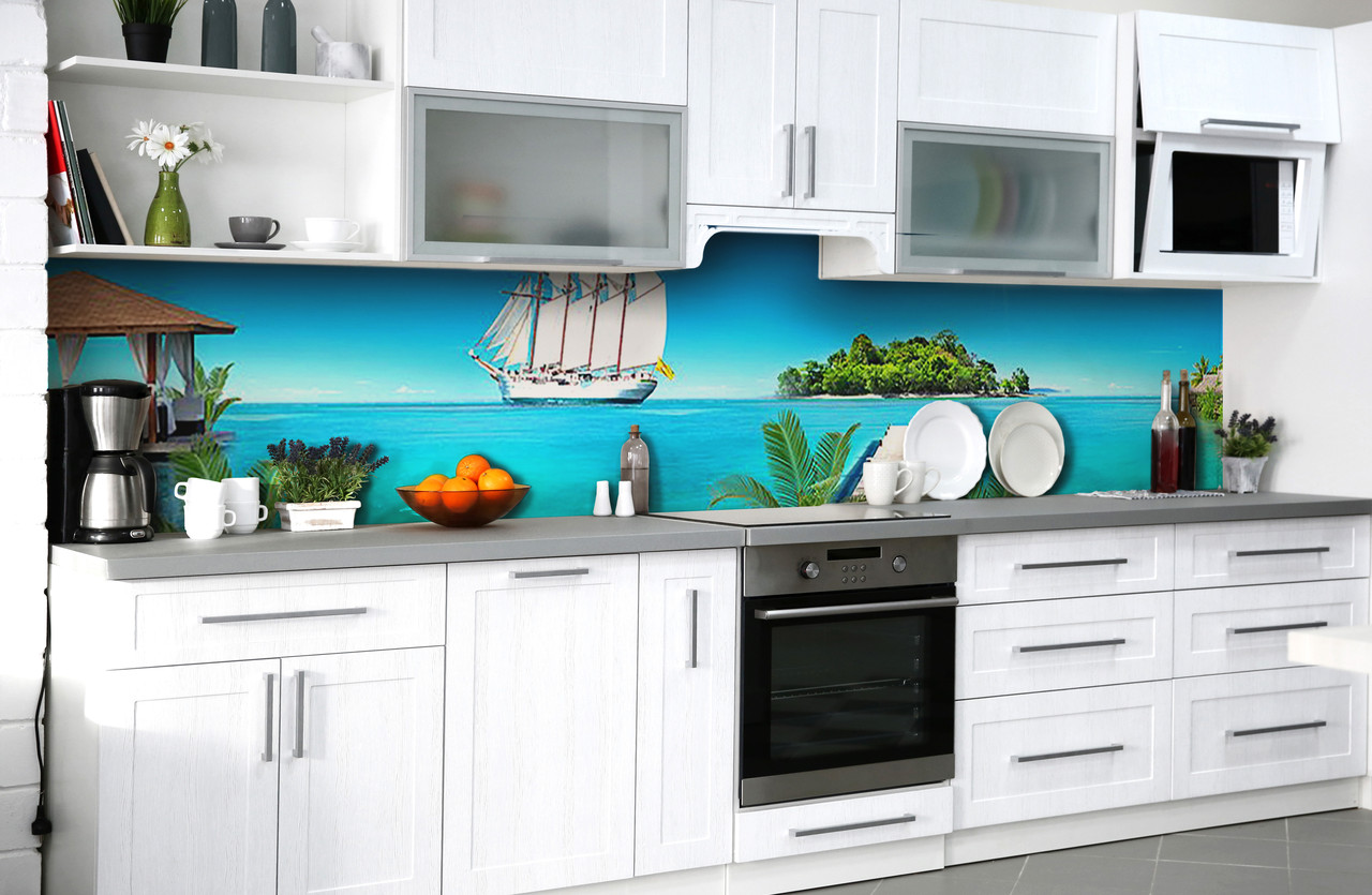 Скинали на кухню Zatarga «Добро пожаловать в рай» 600х3000 мм виниловая 3Д наклейка кухонный фартук
