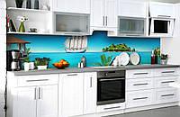 Скинали на кухню Zatarga «Добро пожаловать в рай» 600х3000 мм виниловая 3Д наклейка кухонный фартук, фото 1