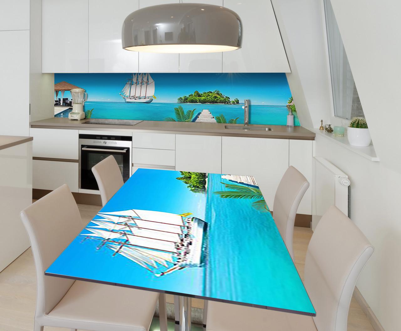 Наклейка 3Д виниловая на стол Zatarga «Добро пожаловать в рай» 650х1200 мм для домов, квартир, столов, кофейн,