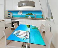 Наклейка 3Д виниловая на стол Zatarga «Добро пожаловать в рай» 650х1200 мм для домов, квартир, столов, кофейн,, фото 1