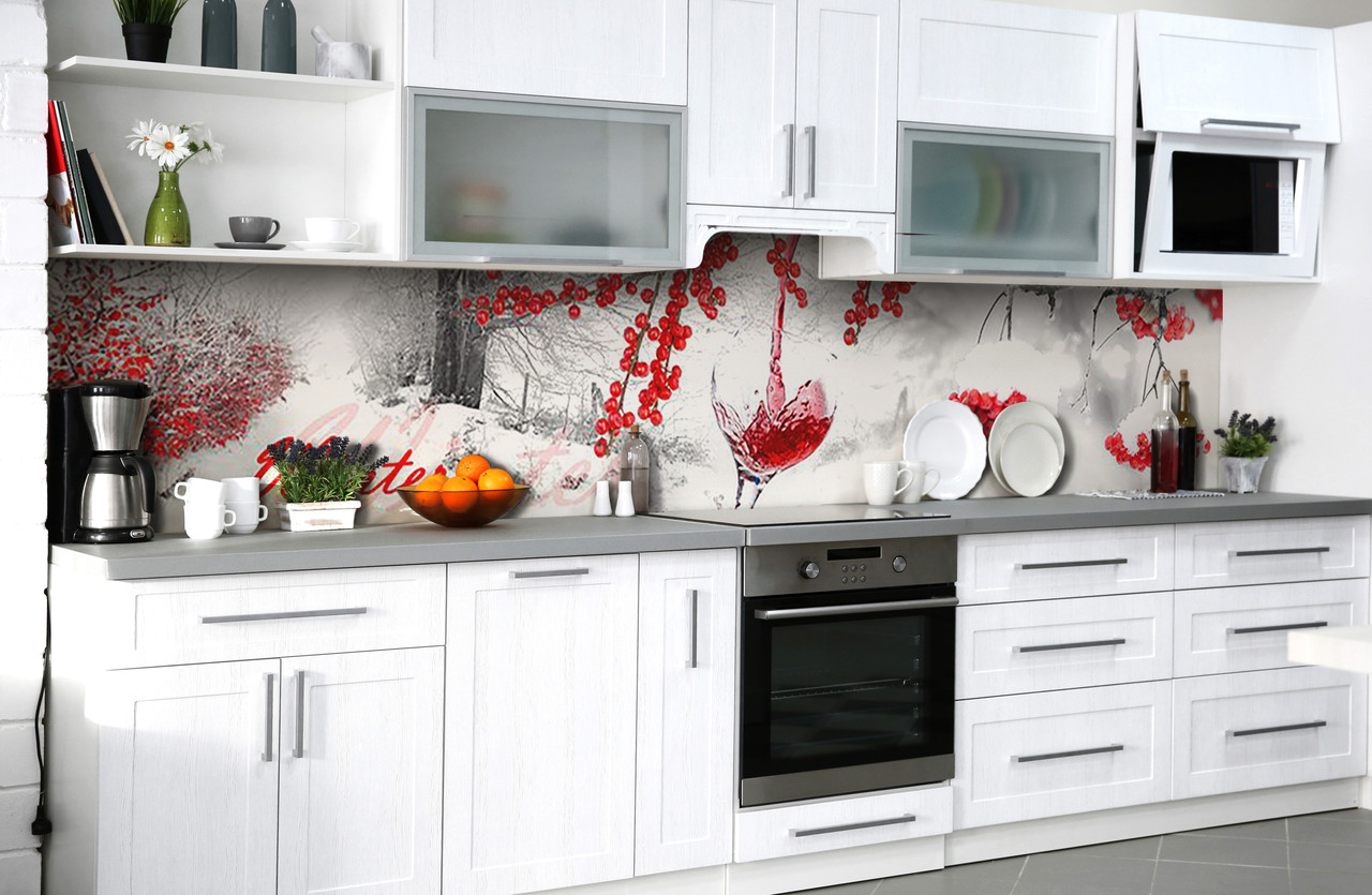 Скинали на кухню Zatarga «Алая зима» 600х3000 мм виниловая 3Д наклейка кухонный фартук самоклеящаяся