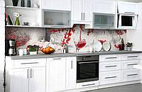 Скинали на кухню Zatarga «Алая зима» 600х3000 мм виниловая 3Д наклейка кухонный фартук самоклеящаяся, фото 1