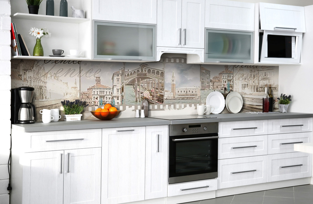 Скинали на кухню Zatarga «Фильм о Венеции» 650х2500 мм виниловая 3Д наклейка кухонный фартук самоклеящаяся