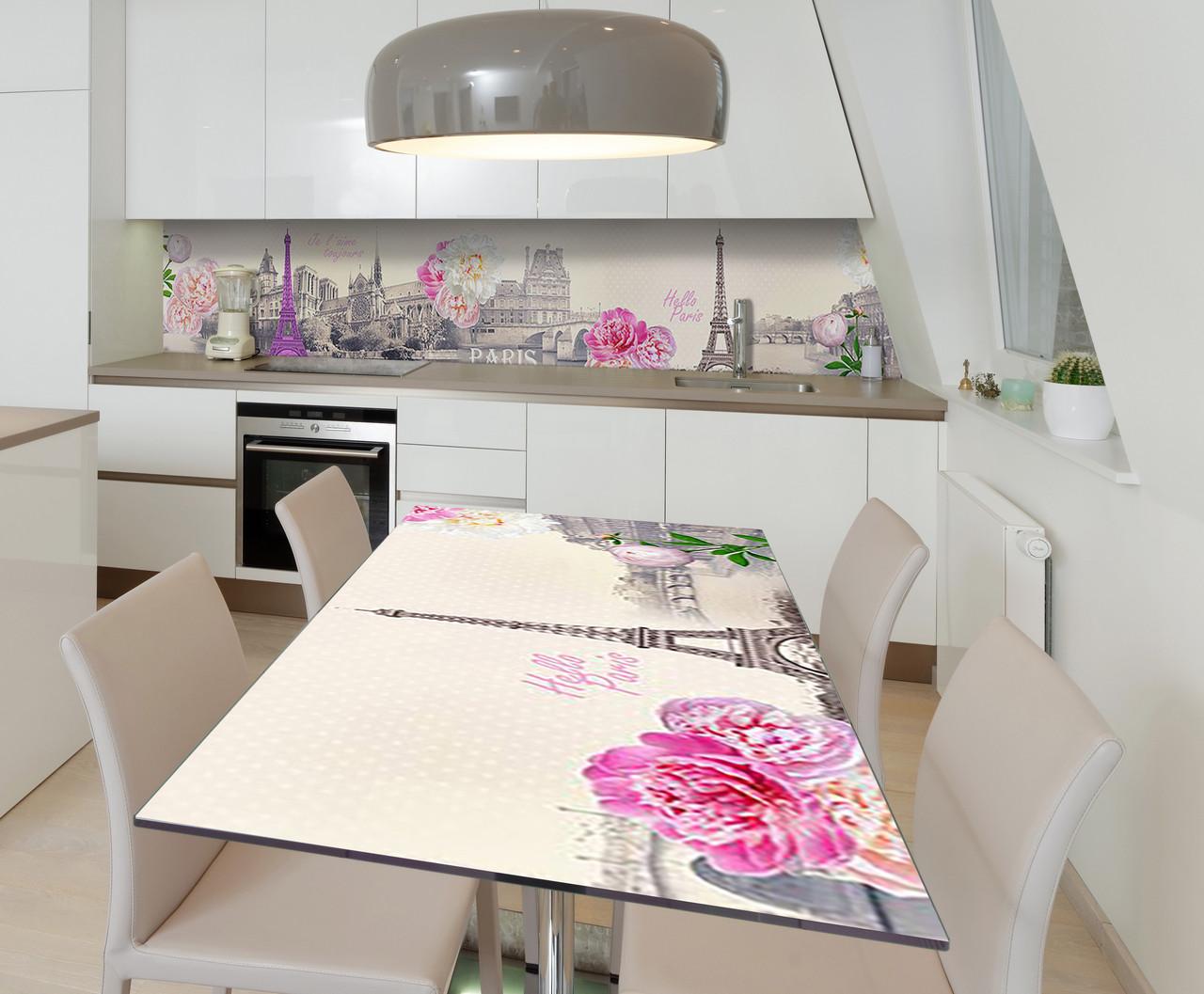Наклейка 3Д виниловая на стол Zatarga «Привет, Париж!» 650х1200 мм для домов, квартир, столов, кофейн, кафе