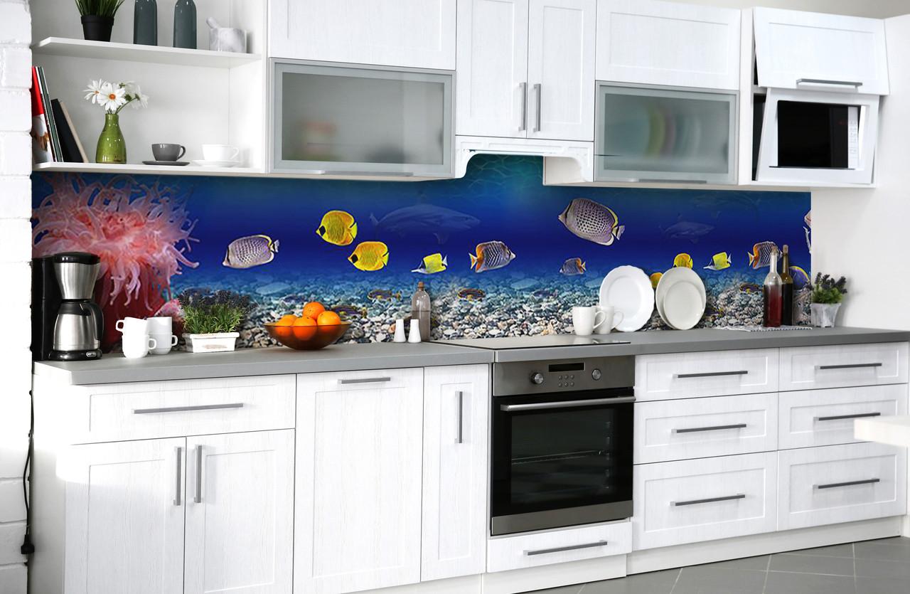 Скинали на кухню Zatarga «Тайны глубин» 600х2500 мм виниловая 3Д наклейка кухонный фартук самоклеящаяся