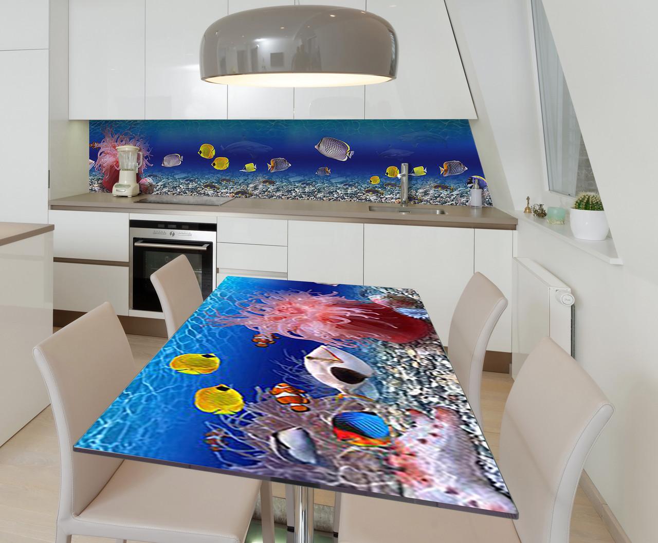 Наклейка 3Д виниловая на стол Zatarga «Тайны глубин» 600х1200 мм для домов, квартир, столов, кофейн, кафе