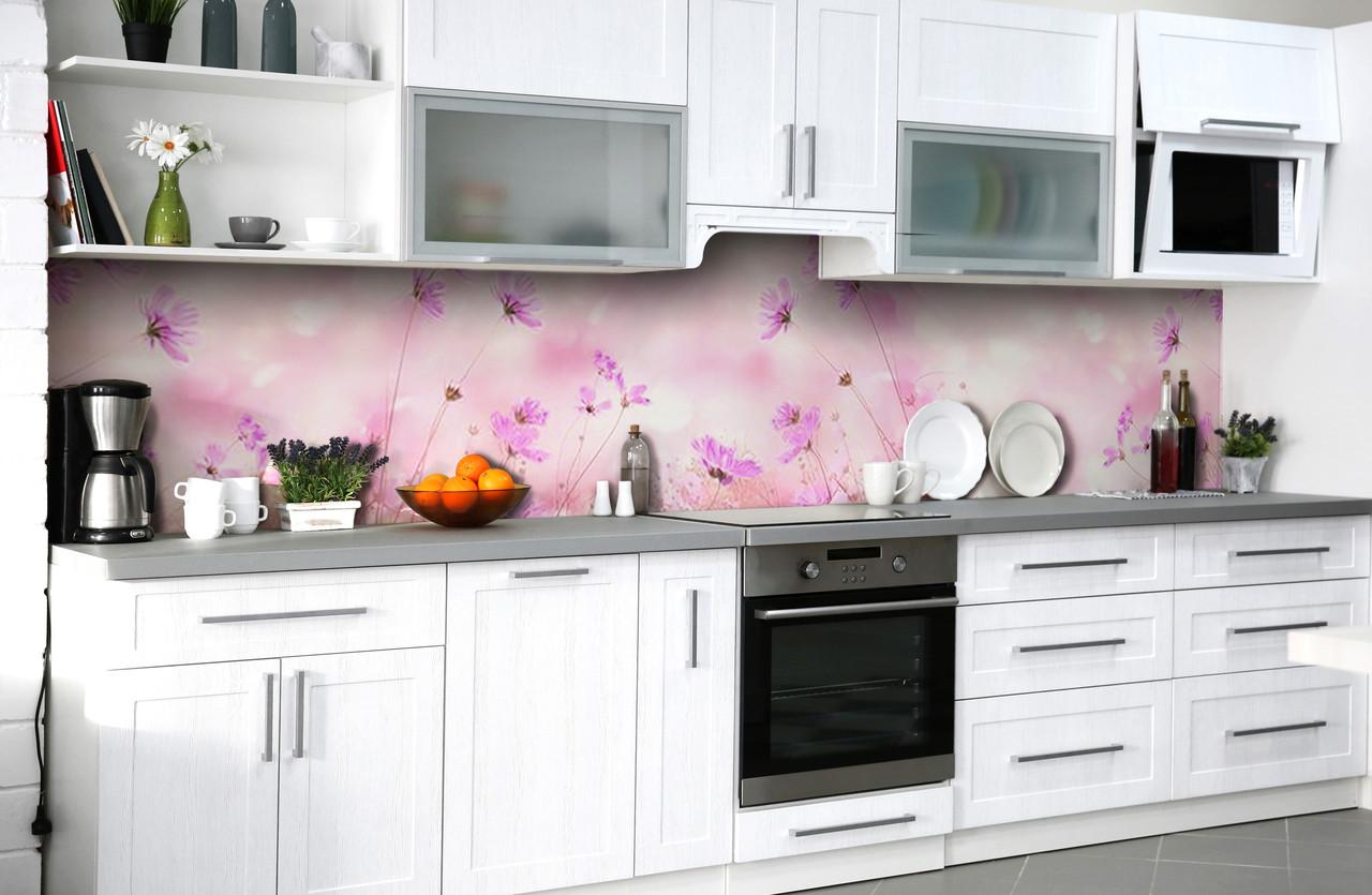 Скинали на кухню Zatarga «Розовые грёзы» 650х2500 мм виниловая 3Д наклейка кухонный фартук самоклеящаяся