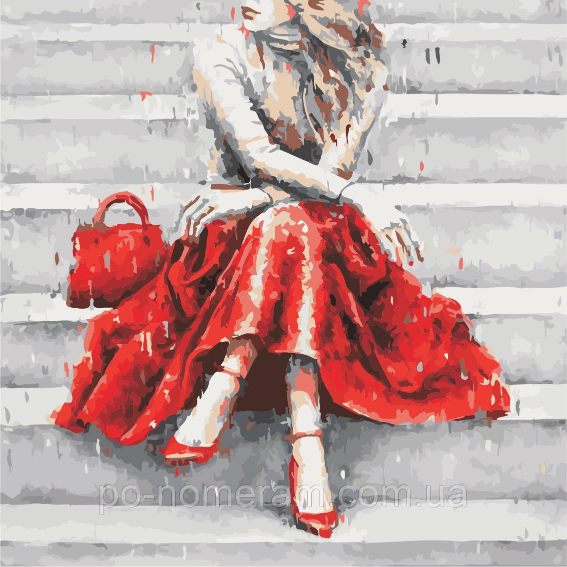 Картина по номерам ArtStory Девушка в красном (AS0937) 40 х 40 см (Без коробки)