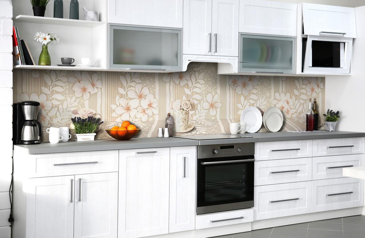 Скинали на кухню Zatarga «Ажурное утро» 600х2500 мм виниловая 3Д наклейка кухонный фартук самоклеящаяся