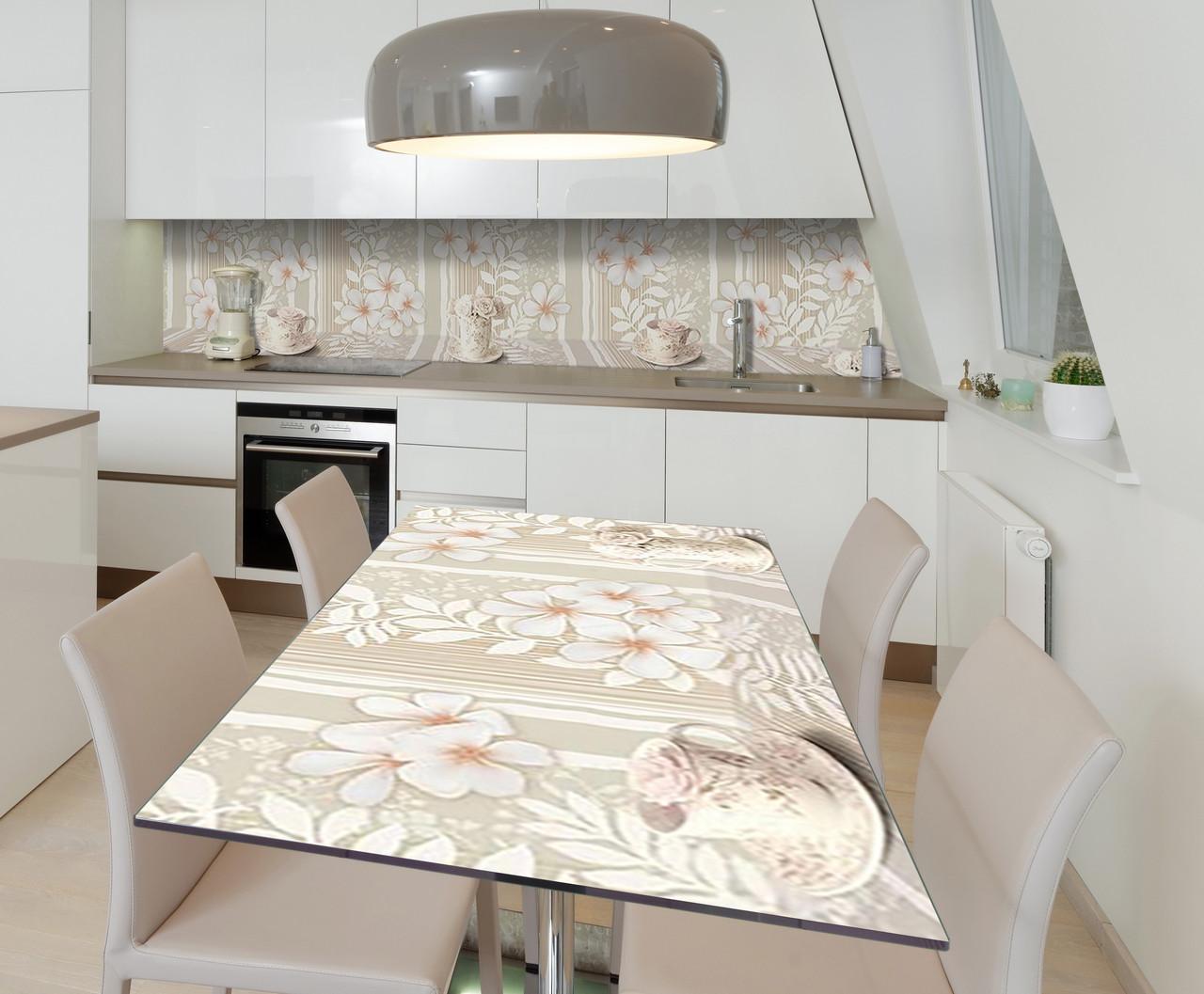 Наклейка 3Д виниловая на стол Zatarga «Ажурное утро» 600х1200 мм для домов, квартир, столов, кофейн, кафе
