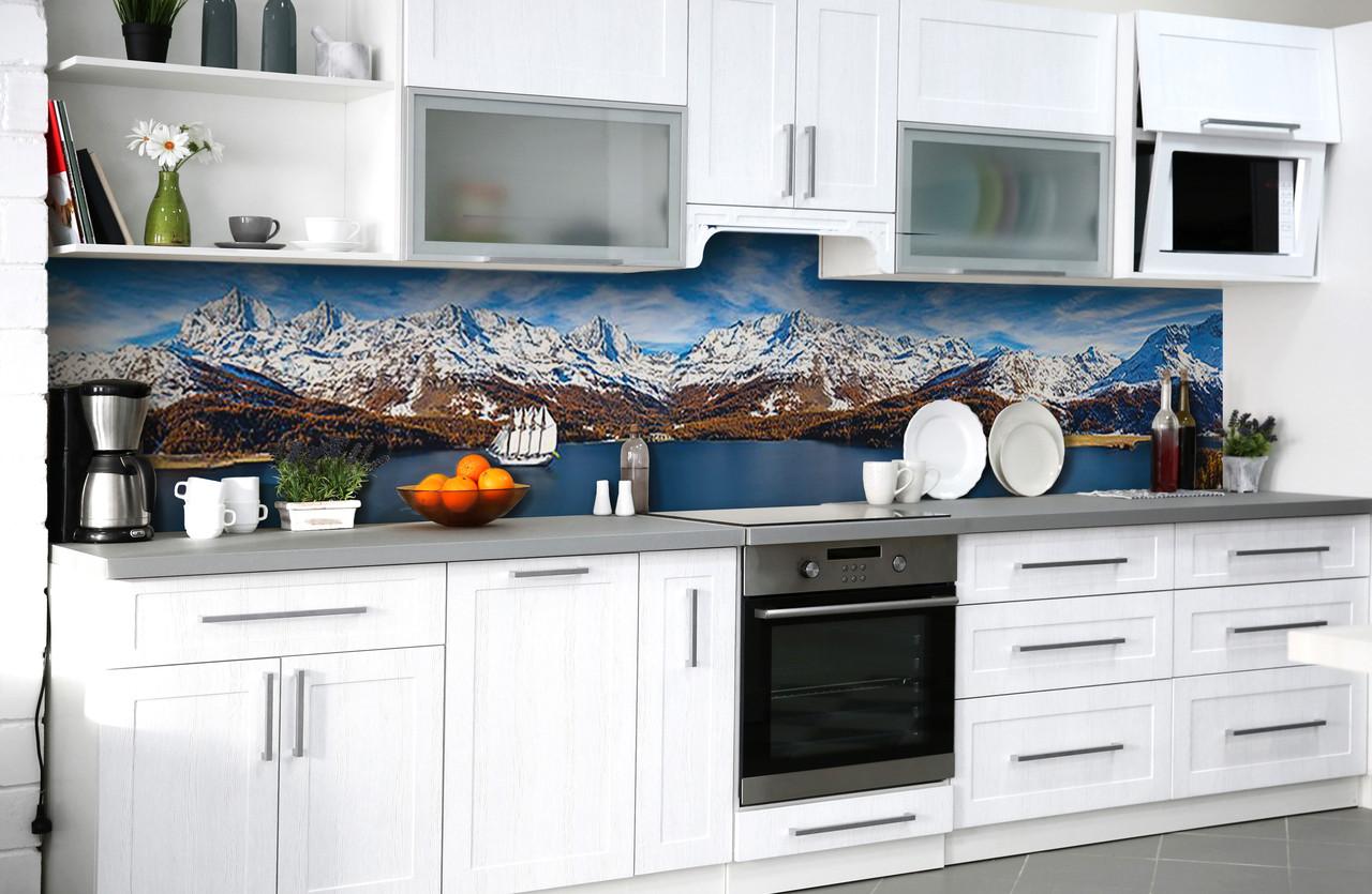 Скинали на кухню Zatarga «Зеснеженные вершины» 650х2500 мм виниловая 3Д наклейка кухонный фартук самоклеящаяся