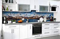 Скинали на кухню Zatarga «Зеснеженные вершины» 650х2500 мм виниловая 3Д наклейка кухонный фартук самоклеящаяся, фото 1