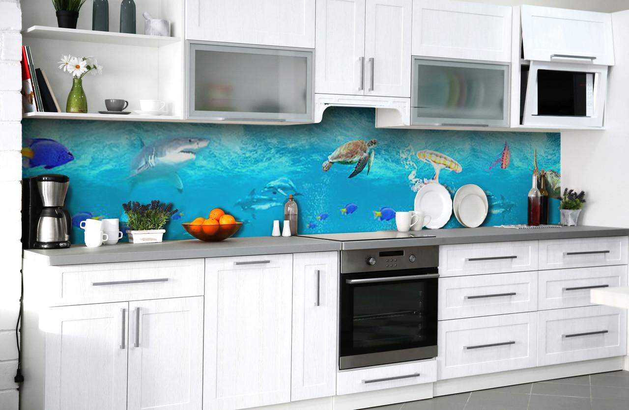 Скинали на кухню Zatarga «Тихоокеанский тандем» 650х2500 мм виниловая 3Д наклейка кухонный фартук