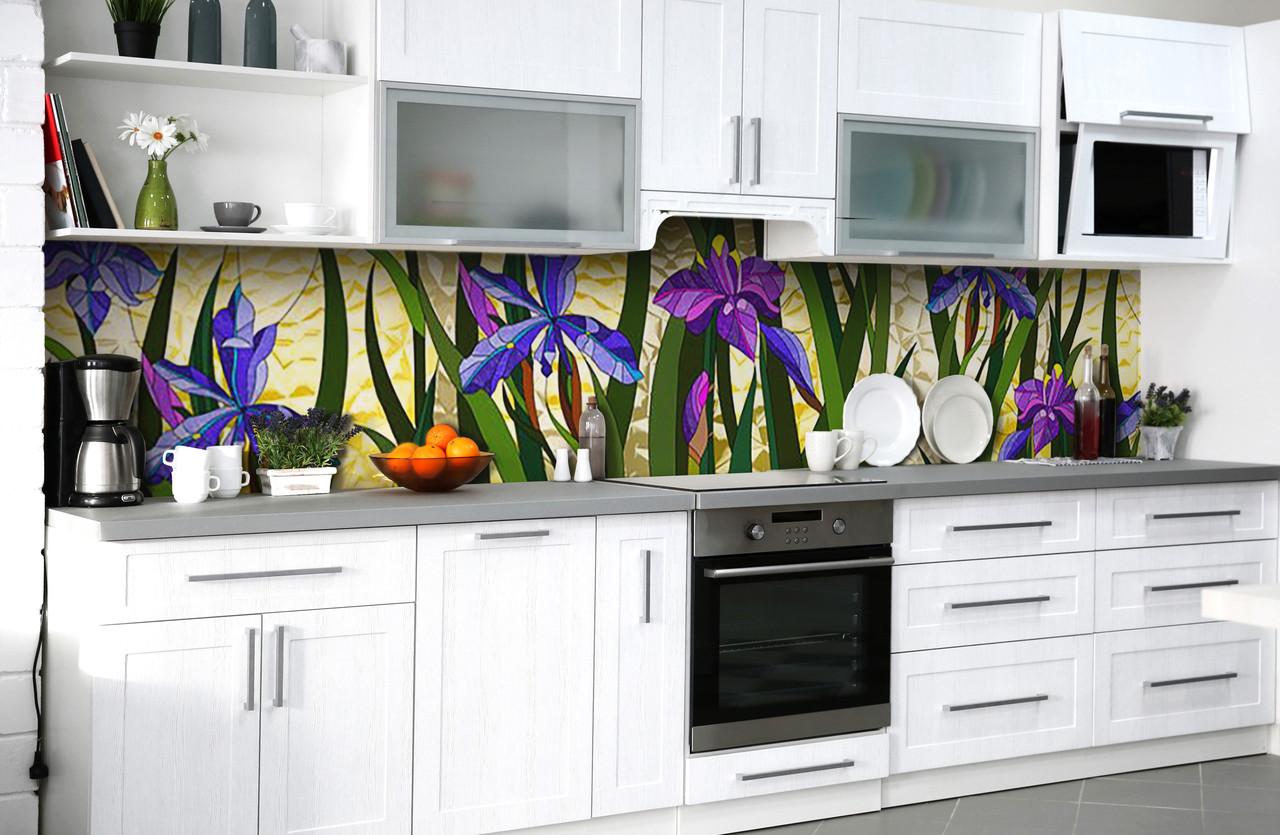 Скинали на кухню Zatarga «Цветочные витражи» 600х2500 мм виниловая 3Д наклейка кухонный фартук самоклеящаяся