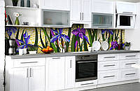 Скинали на кухню Zatarga «Цветочные витражи» 600х2500 мм виниловая 3Д наклейка кухонный фартук самоклеящаяся, фото 1