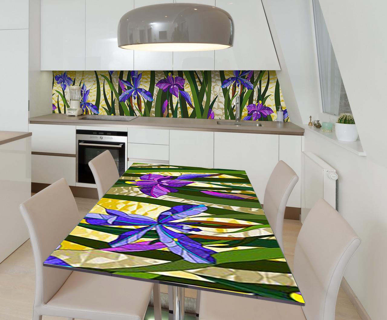 Наклейка 3Д виниловая на стол Zatarga «Цветочные витражи» 650х1200 мм для домов, квартир, столов, кофейн, кафе