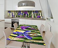 Наклейка 3Д виниловая на стол Zatarga «Цветочные витражи» 650х1200 мм для домов, квартир, столов, кофейн, кафе, фото 1