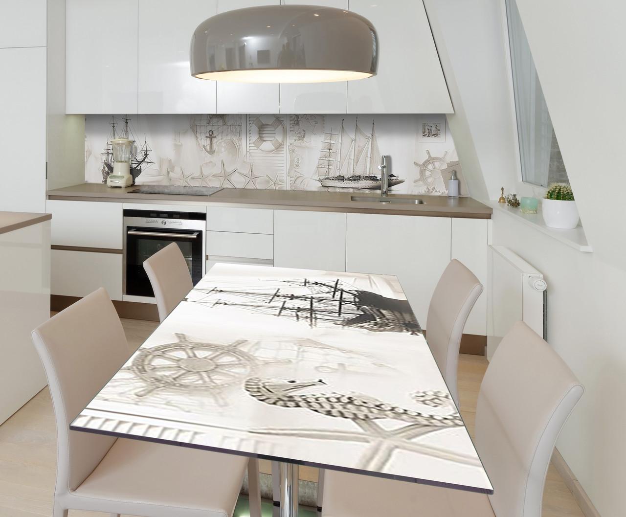 Наклейка 3Д виниловая на стол Zatarga «Морская сепия» 650х1200 мм для домов, квартир, столов, кофейн, кафе