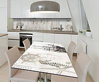 Наклейка 3Д виниловая на стол Zatarga «Морская сепия» 650х1200 мм для домов, квартир, столов, кофейн, кафе, фото 1