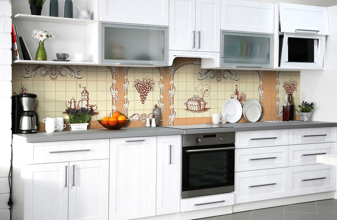 Скинали на кухню Zatarga «Кухонные виньетки» 600х3000 мм виниловая 3Д наклейка кухонный фартук самоклеящаяся