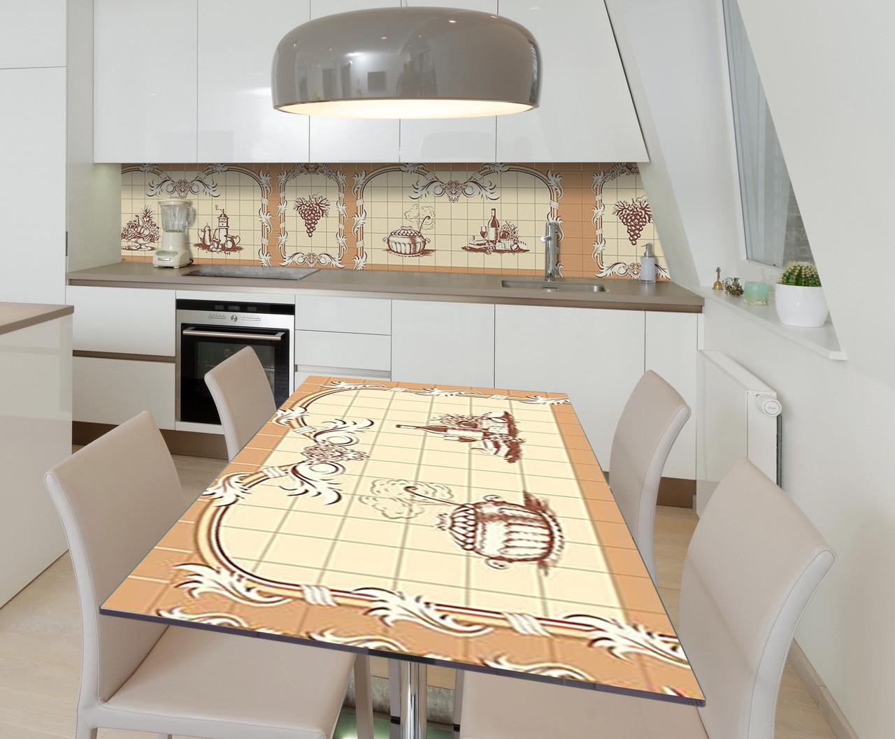 Наклейка 3Д виниловая на стол Zatarga «Кухонные виньетки» 600х1200 мм для домов, квартир, столов, кофейн, кафе