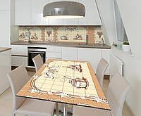 Наклейка 3Д виниловая на стол Zatarga «Кухонные виньетки» 600х1200 мм для домов, квартир, столов, кофейн, кафе, фото 1