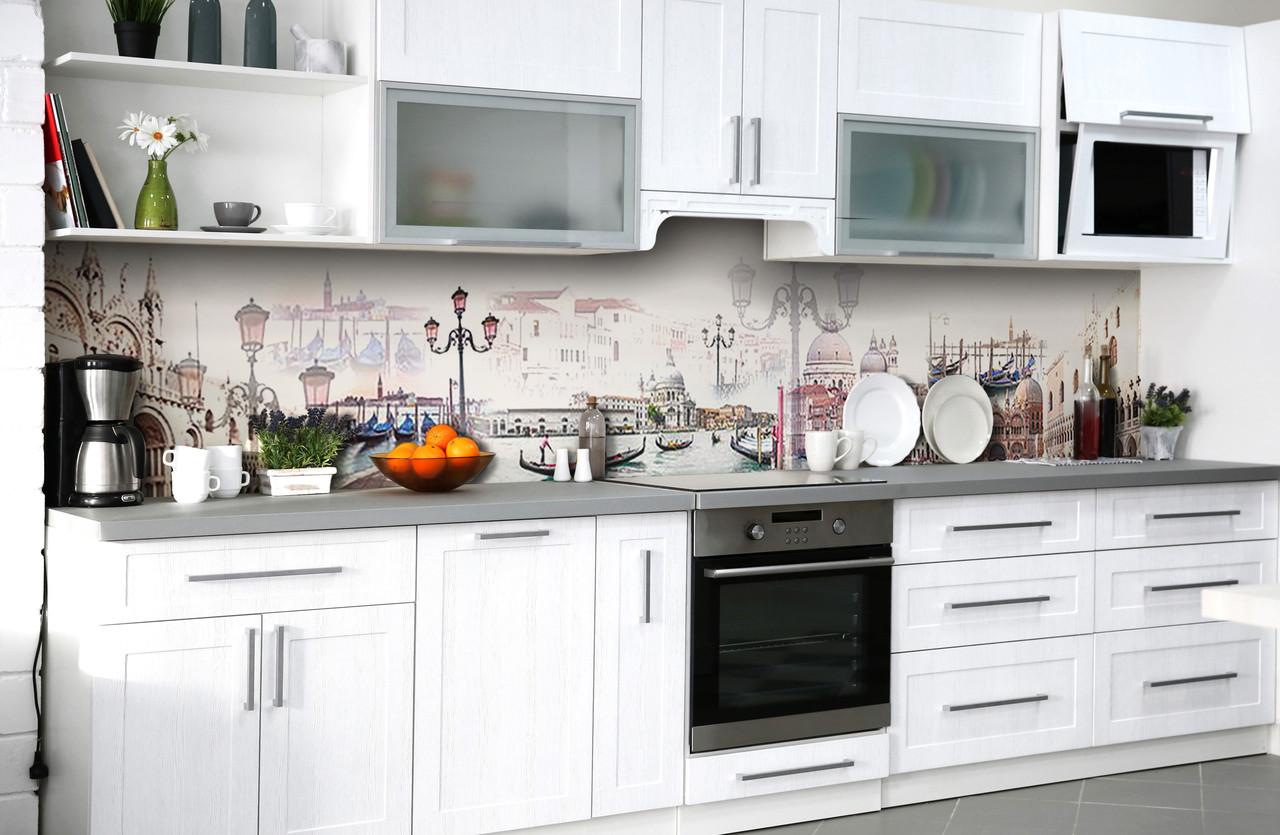 Скинали на кухню Zatarga «Венецианская мечта» 600х3000 мм виниловая 3Д наклейка кухонный фартук самоклеящаяся