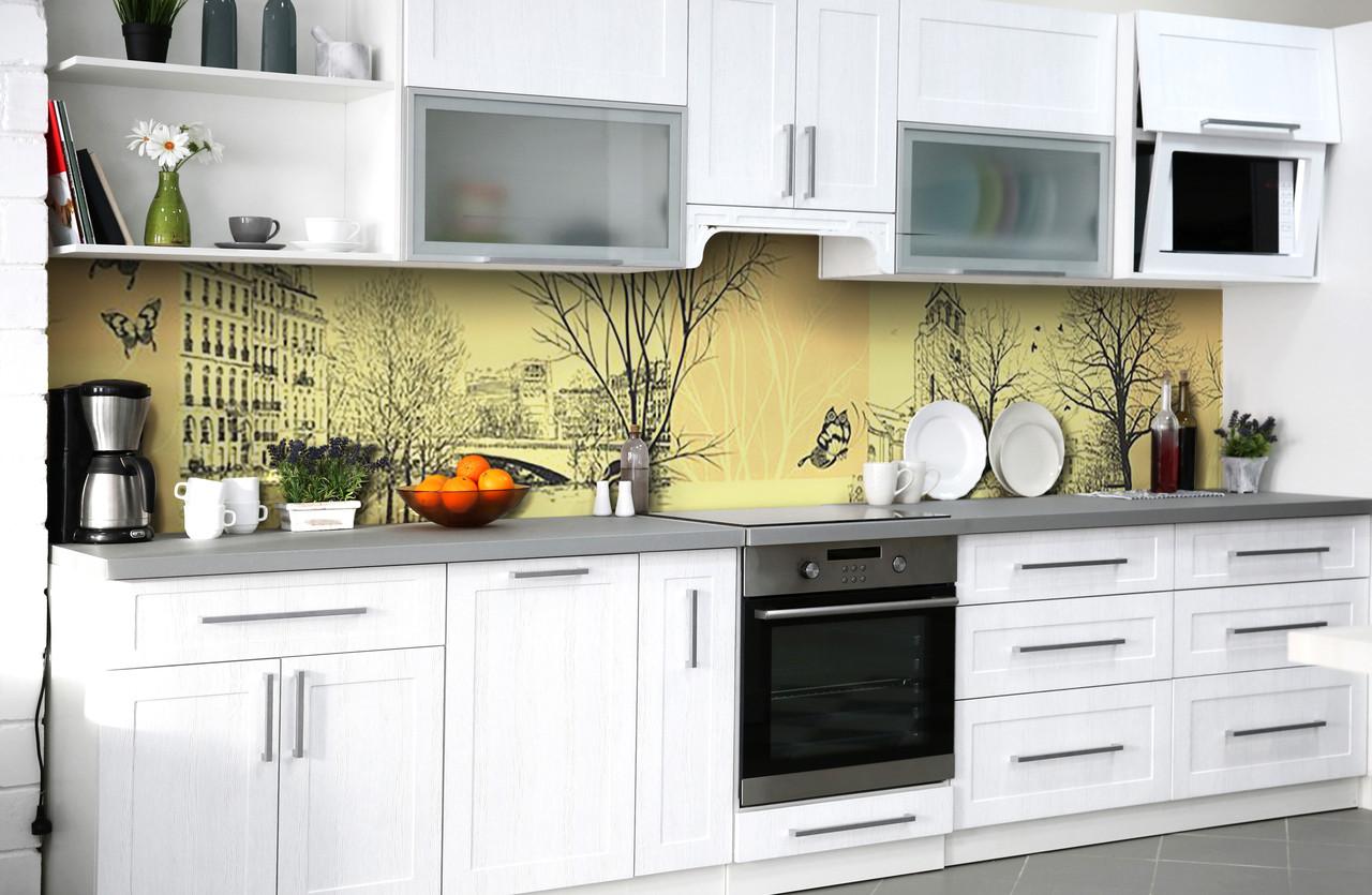 Скинали на кухню Zatarga «Пражская легенда» 650х2500 мм виниловая 3Д наклейка кухонный фартук самоклеящаяся
