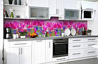 Скинали на кухню Zatarga «Тюльпановое поле» 650х2500 мм виниловая 3Д наклейка кухонный фартук самоклеящаяся, фото 1