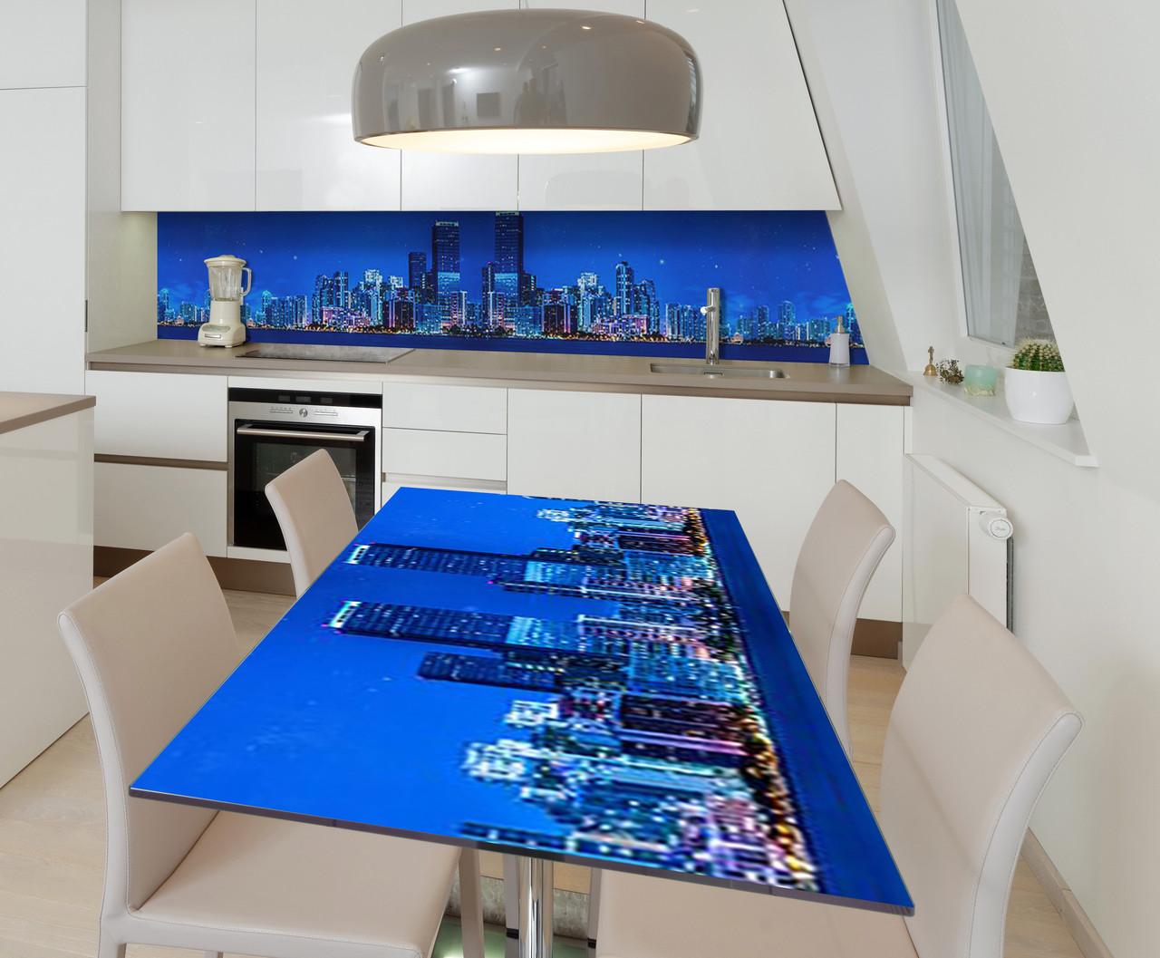 Наклейка 3Д виниловая на стол Zatarga «Шарм ночного мегаполиса» 600х1200 мм для домов, квартир, столов,