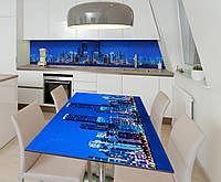 Наклейка 3Д виниловая на стол Zatarga «Шарм ночного мегаполиса» 600х1200 мм для домов, квартир, столов,, фото 1