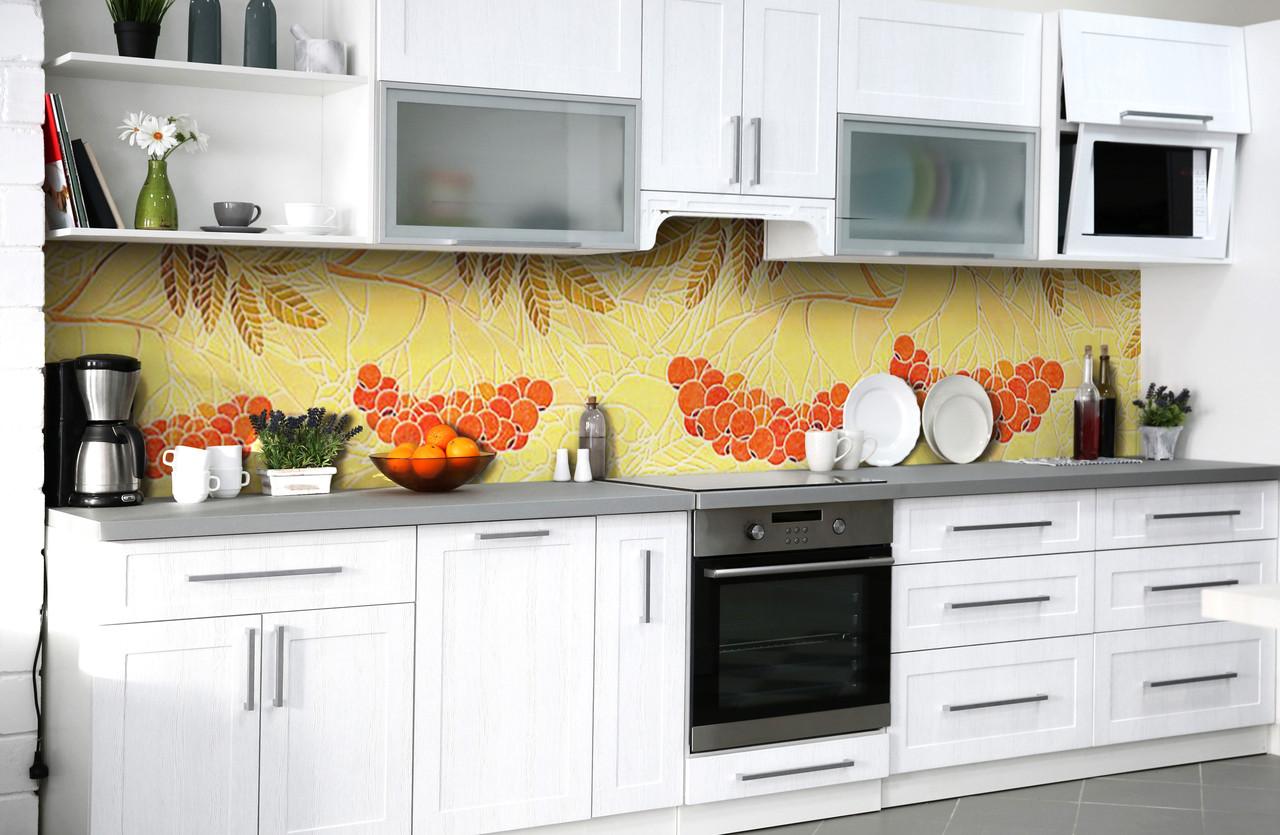 Скинали на кухню Zatarga «Пламя рябин» 600х2500 мм виниловая 3Д наклейка кухонный фартук самоклеящаяся